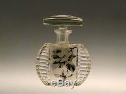 Bohemian Czech Art Deco Glass Perfume Bottle by Karel Palda Black White Roses