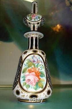 Bohemian Moser Black glass white overlay perfume bottle hand painted rose gold