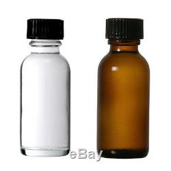 Boston Round 1 oz (30 ml) Glass Bottles With Poly Cone Lined Black Cap