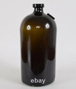 British Navy Black Glass Lime Juice Bottle VR Anchor Seal Circa 1860