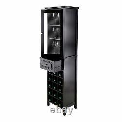 Burgundy Wine Cabinet 15-Bottle, Glass Door Black