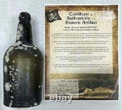 C. 1800s BLACK GLASS MALLET STYLE RUM PATENT BOTTLE SEA SALVAGED PIRATE ARTIFACT