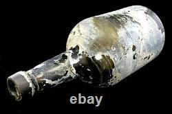 C. 1850s BLACK GLASS MALLET STYLE RUM PONTIL 9.5 BOTTLE SEA SALVAGED ARTIFACT