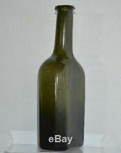 Ca. 1780 8-Sided Medicine Bottle, Black Glass, Pontil