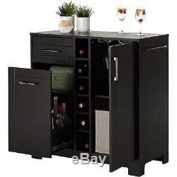 Cabinet Server Wine Bar Dining Buffet Bottle Rack Glass Shelves Wood Black Oak