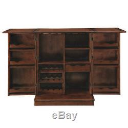 Chestnut Portable Folding Wood Mini Bar Cabinet with Wine Bottle and Glass Rack