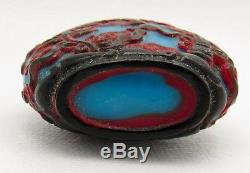 Chinese 20th Century 3 Color Red Blue Black Peking Cameo Glass Snuff Bottle