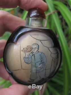 Chinese antique snuff black glass bottle Waiter & Cashier in Chinese restaurant