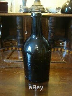 Circa 1780-1820 Pontil Antique Black Glass Beer / Ale Bottle