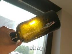 Circa 1800-1820 sand Pontil Antique Black Glass Beer / Gin Bottle / squat bottle