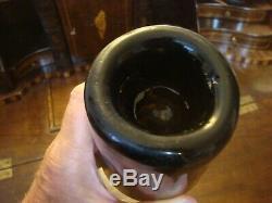 Circa 1840 Black Glass Antique Pontil Wine Mallet Bottle Stunning condition