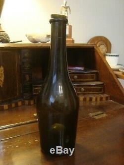 Circa 1840 Black Glass Pontil Wine Mallet Bottle Stunning condition