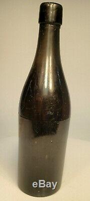 Civil War Era Black Glass Beer Ale Whiskey Bottle