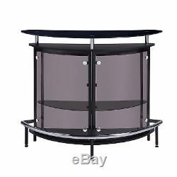 Coaster Bar Unit Glass Storage Shelves Stemware Rack Wine Bottles Black Chrome