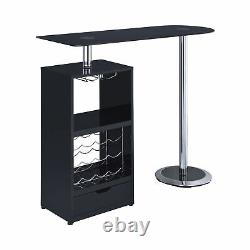 Coaster Modern Black Bar Table with Wine Bottle Storage and Glass Top 120451