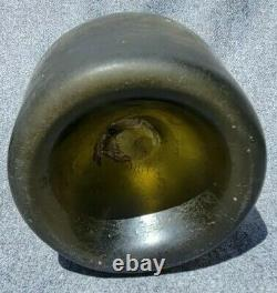 Colonial Era Dutch Mallet Wine Bottle 1725-1775 Green Black Glass