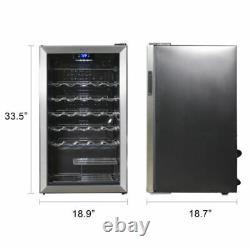 Compressor Wine Cooler Stainless Steel Glass Door Quiet Drinks Celler 35 Bottles