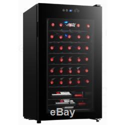 Cooler Wine Fridge Bottle Chiller Cellar 34 Bottle Touch Control LED Glass Black