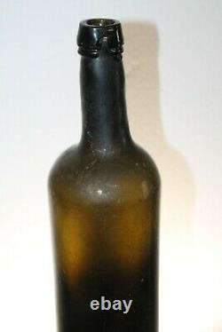 Crude Open Pontil Blown Black Glass Cylinder Whiskey Bottle 11'