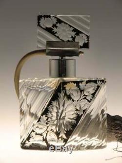 Crystal clear glass Perfume Bottle black enamel cut to clear Floral motif Palda