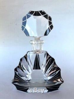 Czecho Slovakia Art Deco Glass Antique Perfume Bottle Karl Palda Black Enamel