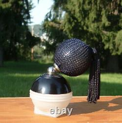 DeVilbiss Art Deco Black/Frosted Orb-Shaped Glass Perfume Bottle new Bulb