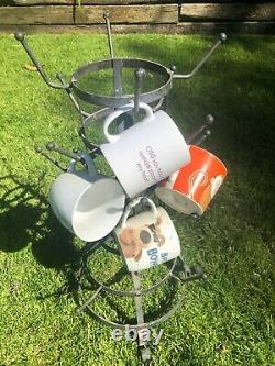 DuChamp Inspired Rustic French Iron Wine Bottle Tree Glass Mug Dryer Rack