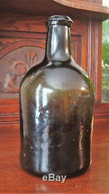 Early 1800 Antique Wine Bottle Olive Green Black Glass