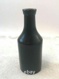 Early 1800's Black Amber Glass Bottle Smooth Bottom 5 Blob Top Unique Bitters