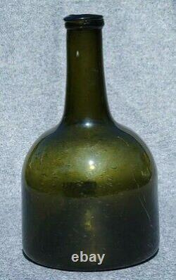 Early Dutch German Mallet Wine Bottle 1720-1740 Olive Green Black Glass