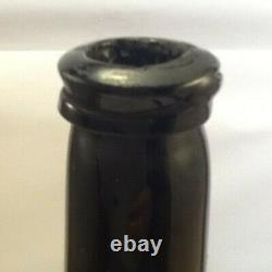 Early Free Blown Squat Cylinder. English Free Blown Black Glass Mallet Bottle