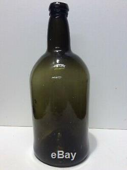 Early large sized Black Glass free blown Pontil Old Bottle super condition