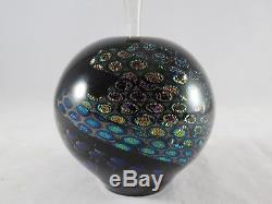Elaine Hyde Signed Art Glass Black Multi Colored Perfume Bottle Rare