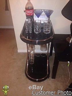 Elegant Bar Drink Serving Cart with 2 Black Glass Shelve Wine Bottle Stemware Rack