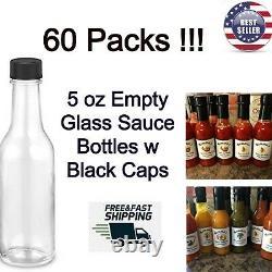 Empty Hot Sauce Bottles Glass Woozy Clear Vinegar Oil W Black Cap 5 oz 60 Pack