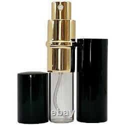 Empty Perfume Bottle Glass 10ml Black Gold Atomizer Deluxe Spray Refillable