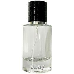 Empty Thick Glass Perfume Black Cap Bottles 30ml 1oz Silver Atomizer Fine Mist