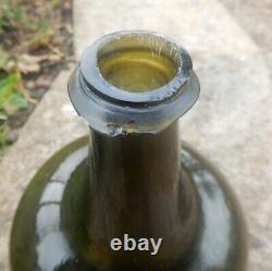 English Mallet black glass (dark green) wine bottle. Circa 1730. Lovely shape