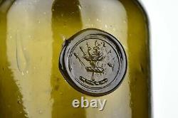 English Sir Reginald Carew Family Crest Black Glass Seal Bottle 18th Century