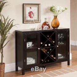 Espresso Finish Wine Bottle Rack Buffet Storage China Cabinet Wood Glass Doors