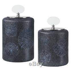 Etched Black Glass Bottle Set 2 Floral Sunburst Silver Mid Century Modern Oval