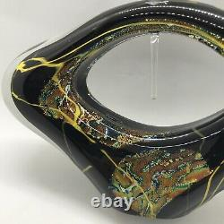 FAB! 2004 Black Art Glass w Gold Flakes Perfume Bottle Sculpture Signed