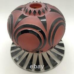 FAB! Raabe & Fellerman Black Cut to Red Cameo Art Glass Perfume Bottle Signed