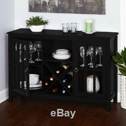 Farmhouse Wine Cabinet Storage Kitchen Dining Bottle Glass Rack Wood Buffet Bar