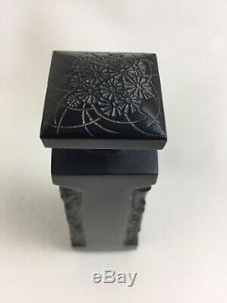 Flacon AMBRE DOrsay Noir R. René LALIQUE Black Glass Perfume Bottle