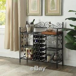 Wine Rack Furniture Black Table Storage