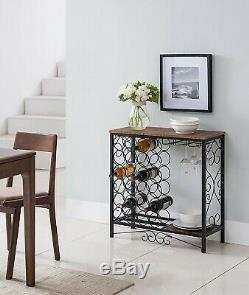 Floor Standing Wine Rack Furniture Table Bottle Holder Metal Storage Glass Black