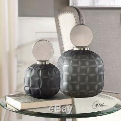Four Etched Charcoal Black Art Glass Decorative Accent Vases Bottles Modern Top
