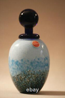 Franco Moretti Rare Glass Perfume Bottle Vintage Signed Blue Black Murano