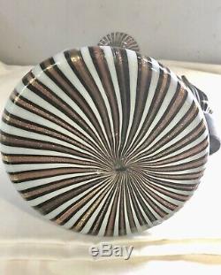 Fratelli TOSO Murano Glass DECANTER Genie Bottle Vase Gold Black Wt Stripes 16